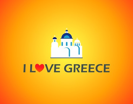 aegean: Church in Greece on orange background with caption Illustration