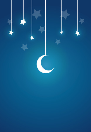 Present Card in Night theme, Moon, Stars with copy space, Vector Illustration