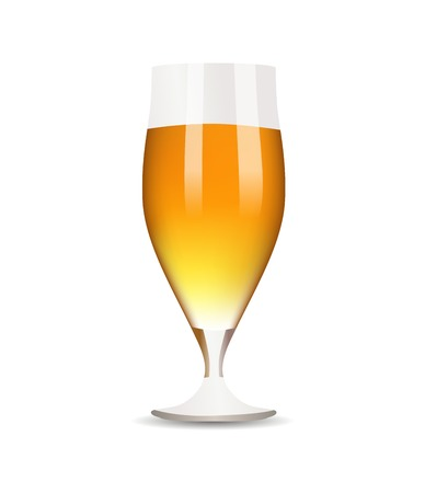 sopping: Glass with beer on white background