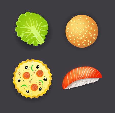 cooked rice: Set of dinner, pizza, burger, sushi and salad leaf Illustration