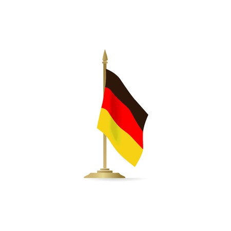 German flag stant on white space