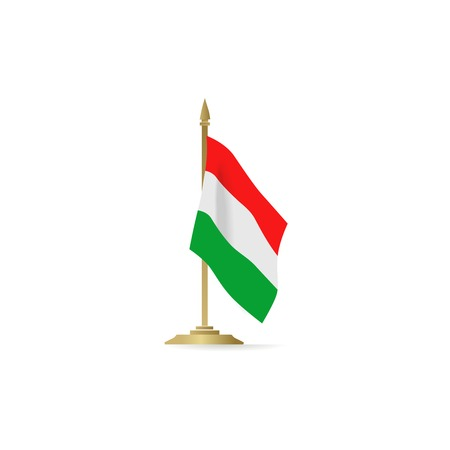 flagpole: Hungarian flag stant on white space