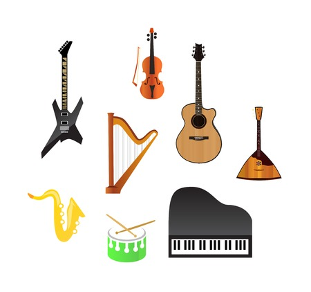 fiddlestick: Music instruments isolated on white  Illustration