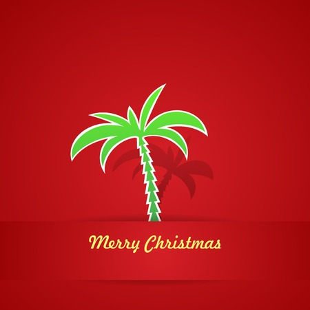 Tropical Christmas Card in red colors, Vector Illustration Çizim