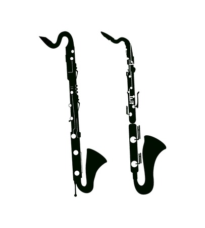 clarinet: Bass Saxaphone and Clarinet, Vector Illustrations in black color on white background isolated