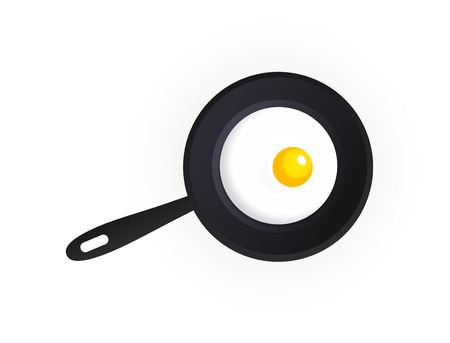 skillet: Tasty Scrambled Eggs on Dripping Pan isolated on white background, Vector Illustration