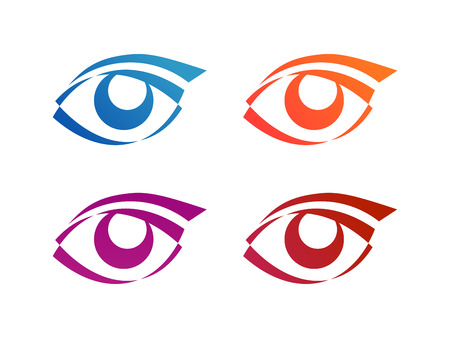 Set of Eye logo conception, 2d Vector Illustration, Sign of Beauty Vettoriali