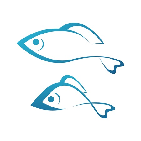 Golden Fish and Grayling, Silhouettes of fishes in blue color, Vector Illustrations
