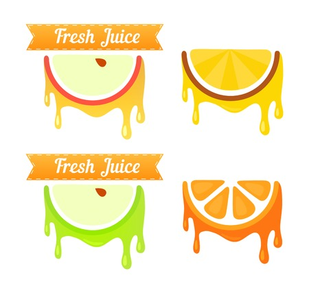 apples and oranges: Set of Fruit Emblems. Apple, Pineapple, Pear, Orange with Style Ribbon, Vector Illustrations Illustration
