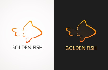 golden fish: Silhouettes of Golden Fish on white and black background, Style Vector Illustration
