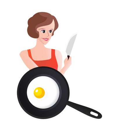 scrambled: Woman with scrambled eggs on skillet and knife, Vector Illustration
