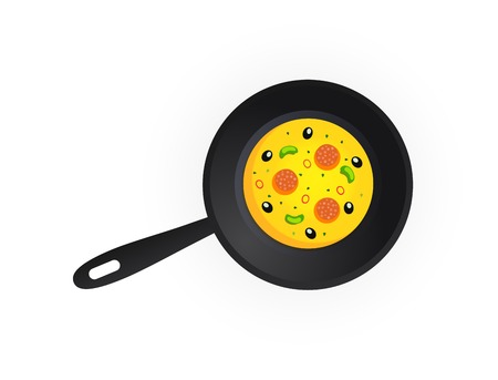 dripping pan: Tasty Pizza on Dripping Pan isolated on white background, Vector Illustration