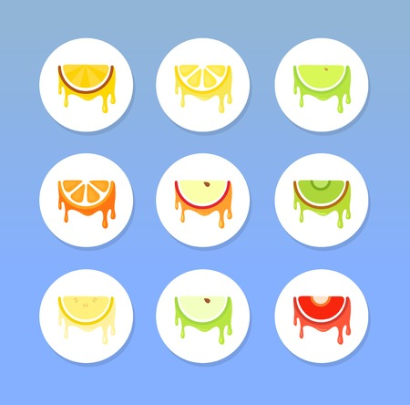 apples and oranges: Set of Fruit Icons, Vector Illustrations Round Form isolated on blue background