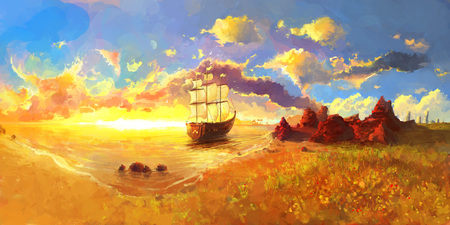 brig ship: Brig, A Sailing Ship close to the beach in warm sunset, Scenic Landscape Illustration