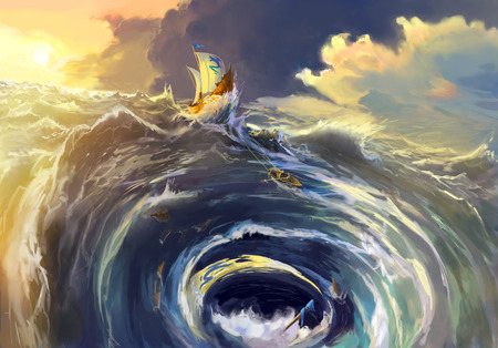 maelstrom: the ship was in the whirlpool Maelstrom. Nautical Scenic Landscape Illustration of Maelstrom.