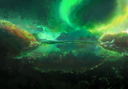 magnetic north: Scenic Landscape Illustration of Northern Aurora Borealis in Canada above lake.