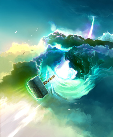 thor's: Thors Hammer flying through the Rainbow Bridge. Colorful Scenic Landscape Illustration with Clouds.