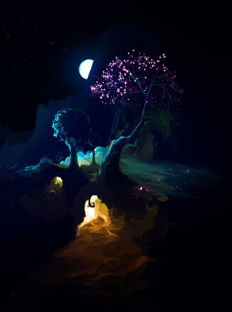burrow: Moon in night above Night Scenic Landscape with illuminated burrow and mountains. Dark Fantasy Illustration Stock Photo