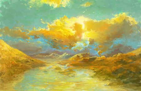 lake district: Hills and lake in Autumn Season. Rural Scenic Sunset at Landscape Illustration.