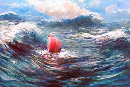storms: Ship with Red Sails in storm Sea. Dramatic daily Nautical Illustration.