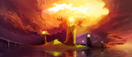 Fantasy Illustration with Magic Towers and Dragons under dark clouds. Scenic Fairytail Illustration about the Struggle between Good and Evil. Stock Photo