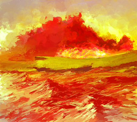 red sky: Landscape Illustration of Pain with Evening Sea Waves and Dramatic Blood Clouds