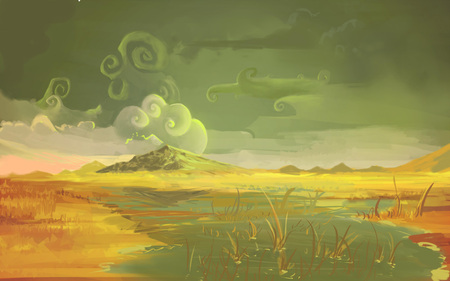 marsh: Gloomy swamp in Nature Illustration of Wild Netherlands in cartoon style. Clouded Autumn Evening Above the Marsh.