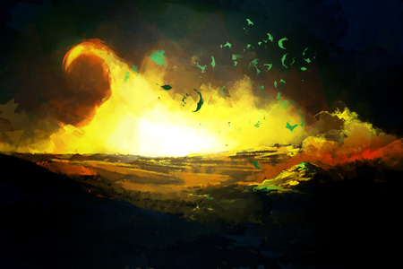 destruction: Scenic Nature Illustration with Fire Flame in Dark Night. Image of Destruction Disaster.