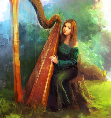 strict: Beautiful Girl in strict dress Play on Celtic Harp in Garden. Scenic Illustration of Musical Instrument and Harpist.