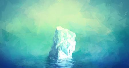 glacier: Scenic Illustration of Iceberg in Greenland. Glacier floats in the polar sea