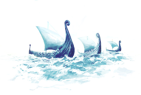 Viking's Ships Drakkars in Nordic Sea. Wooden Warships of Scandinavian Ancient Warriors. 스톡 콘텐츠