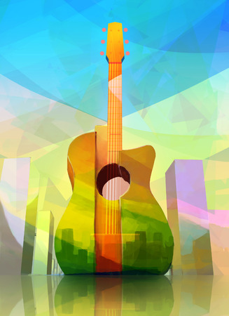 acoustics: Modern Creative Illustration of Acoustic Guitar-shaped City in Abstract Style. Colorful Concept Design.