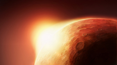 Solar System - Red Planet Mars with Sun on Horizont. Art Scenic Illustration of Mars from Cosmos Orbit.
