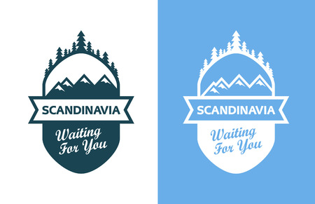 scandinavia: Tour to Scandinavia. Set of Badges, Emblems with north landscapes and captions. Vector Illustrations in blue colors isolated on blue and white background.