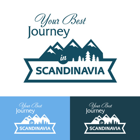 scandinavia: Badge with Scandinavia with Northern Landscape. Vector Illustration on white and blue backgrounds. Illustration