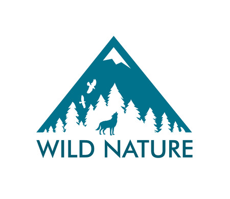 Nature Landscape with raven and wild wolf. Vector icon with caption Wild Nature.
