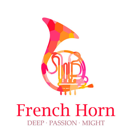 French Horn Silhouette Vector, Logo of Musical Instrument with caption. Illustration