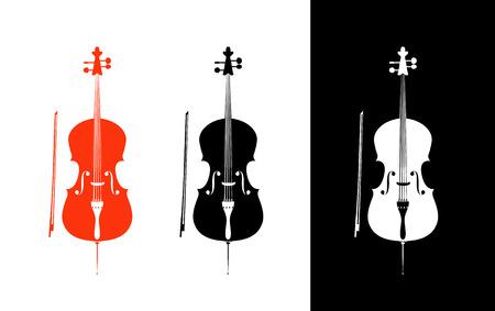 orquesta clasica: Cello en colores negro, rojo y blanco - cuerdas de la orquesta de instrumentos musicales en pose vertical, ilustraci�n vectorial aislados en fondo blanco y negro