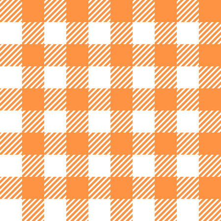 looped: Tablecloth in orange with Checkered design. Pattern Texture Illustration. Vector Looped Background.
