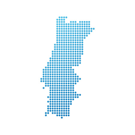 Map of Portugal, Vector Icon in blue modern style Illustration
