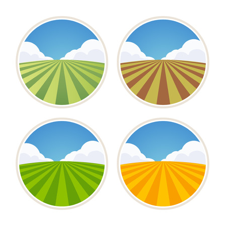 rolling landscape: Round Farm Label with Field of Barley, Rye and Wheat isolated on white, Vector Illustration Illustration