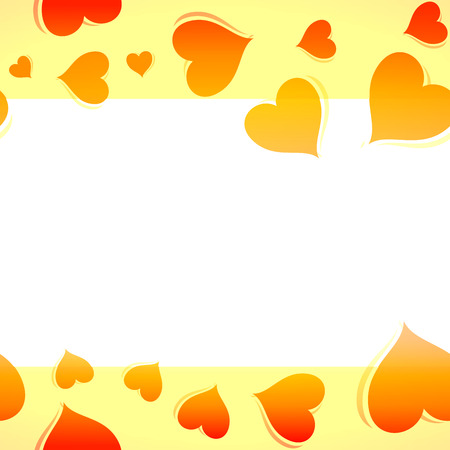 Orange Background Backdrop with Hearts and White Copy Space
