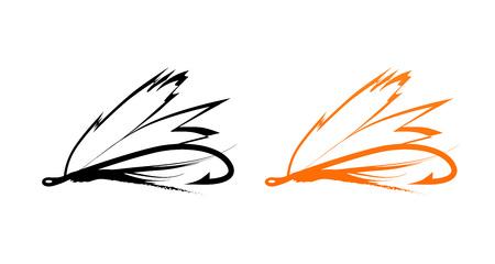 Fly - Icone di Fly Fishing Bait nei colori nero e arancio isolato su bianco, illustrazione vettoriale
