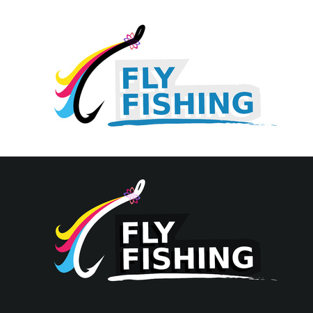 fly fishing: Fly Fishing Emblem isolated on white and black color, Vector Illustration.