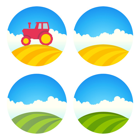 rolling landscape: Round Farm Label with Tractor and Green Field of Barley isolated on white, Vector Illustration