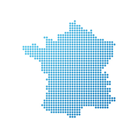 Map of France, Vector Icon in blue color Çizim