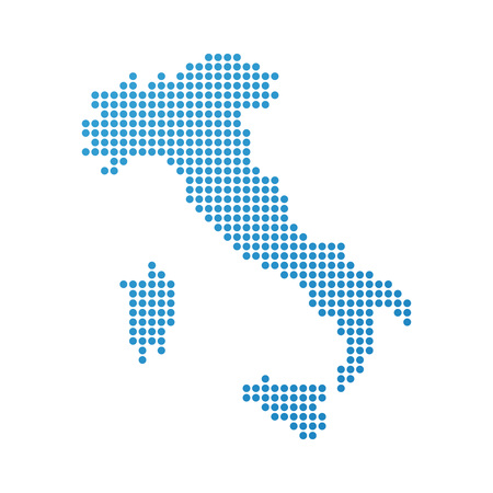 Map of Italy, Vector Icon in blue modern style