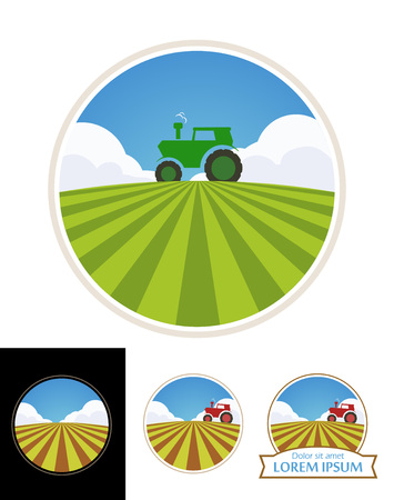 rolling landscape: Farm Label with Tractor and Green Field of Barley isolated on white, Vector Illustration