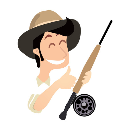 fly fishing: Fisherman with Fly Fishing Rod and thumb up, Funny Vector Illustration isolated on white