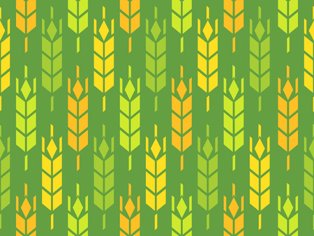 millet: Ears of Wheat, Rye and Barley - Vector Pattern, Looped Background Illustration.